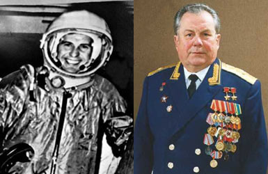 Pavel Popovich as a young cosmonaut and as a Major General of the Russian Air Force.