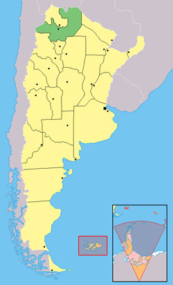 The province of Salta is highlighted in northwestern corrner of Argentina.