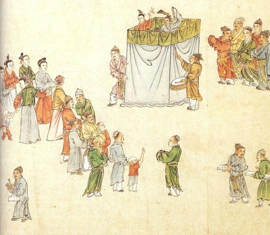 Story-tellers and puppeteers during the Yuan dynasty in China, 14th century AD. (Image Credit: Cambridge Illustrated History of China)