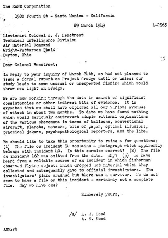 Memo between USAF and RAND on UFOs.