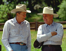Reagan and Gorbachev in 1992