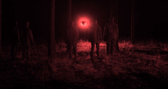 """An animation of the red """"eyeball-shaped"""" UFO in UFOs and Nukes: The Secret Link Revealed. (Credit: Robert Hastings/Verifiable Pictures)"""
