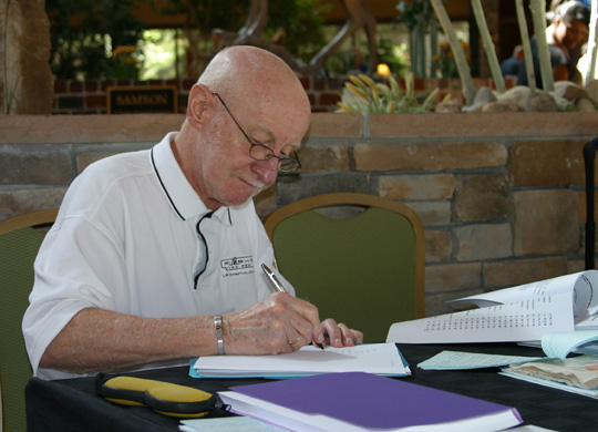Dr. Robert LeLieuvre working on the study at the MUFON Symposium in 2010. (image credit: Alejandro Rojas)