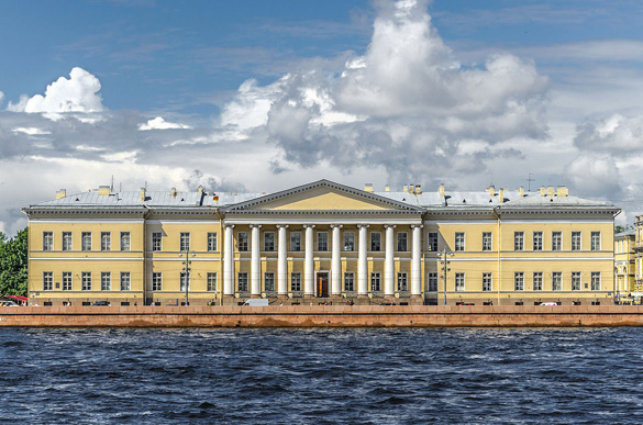 The building of the Imperial Academy of Sciences in Saint Petersburg on Universitetskaya Embankment Building Russian Academy of Sciences in Saint Petersburg. (Credit: Alex Florstein)