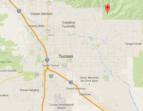 Map showing Sabino Canyon in relation to the airport and Air Force Base. (Credit: Google Maps)