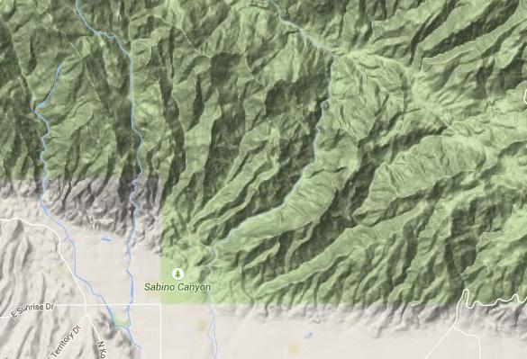 Sabino Canyon at the base of the Catalina Mountains. (Credit: Google Maps)