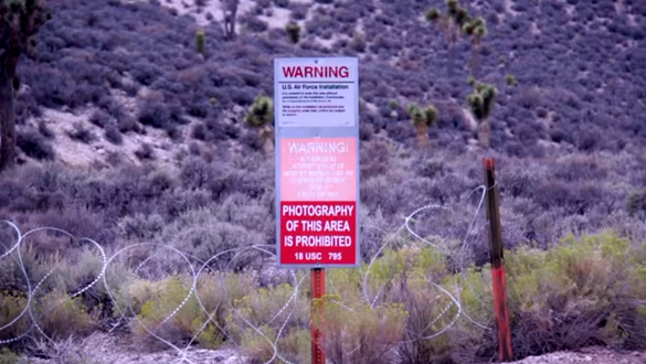 Area 51 warning signs from the video. (Credit: Jeremiah Hasvold/YouTube)
