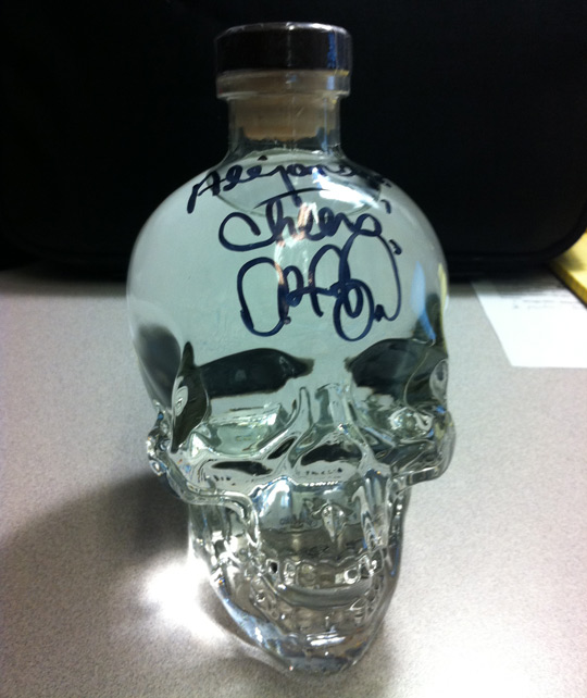 Crystal Skull Vodka signed by Aykroyd