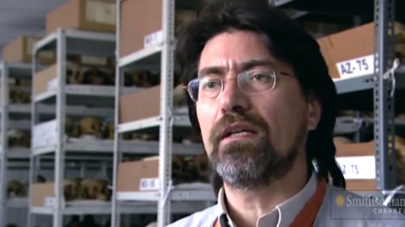 """Screenshot from Child Mummies video. Similar shelving can be seen in the background at the Smithsonian Institute as can be seen in the """"alien"""" slide. (Credit: Smithsonian Institute)"""