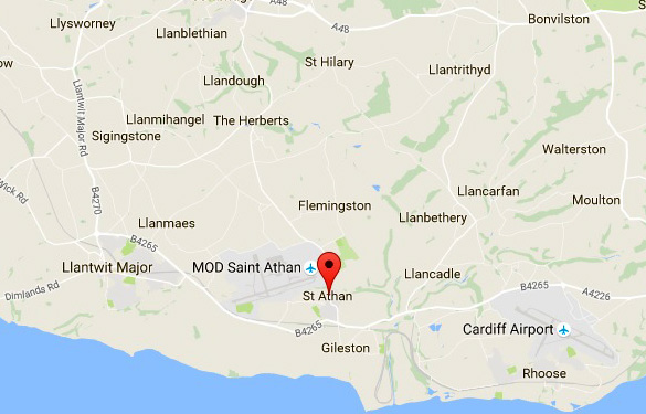 Map showing the location of St. Athan and the local airstrips. (Credit: Google Maps)