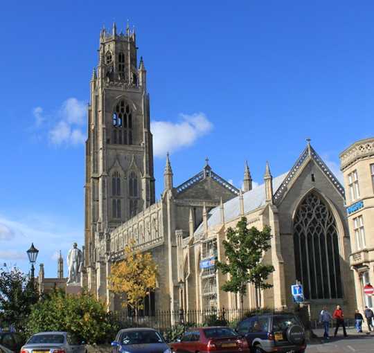 St. Botolph's church spire, which the Ministry of Defence believes may have caused a false radar hit during the Boston sighting.