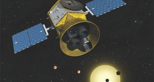 Artist's rendering of TESS in orbit. (Credit: Chet Beals/MIT Lincoln Lab)
