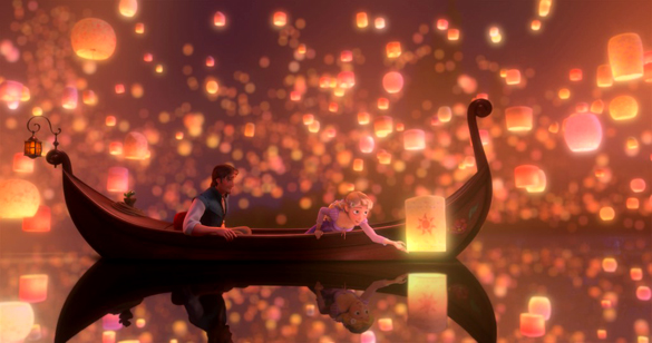 Scene from Tangled with Chinese Lanterns. (Credit: Disney)