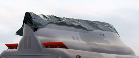 tarp covering stubby vertical tail note extended flapsspeed brakes image credit michael schratt