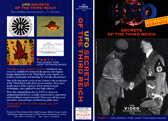 "Video cover to the documentary ""UFO Secrets of the Third Reich""."