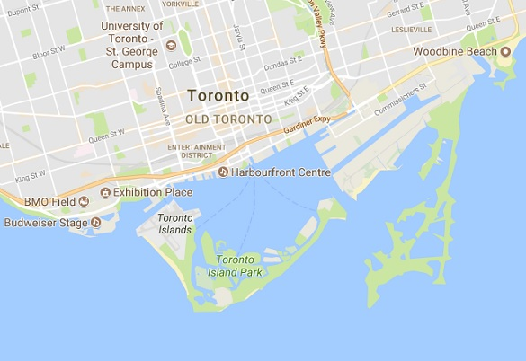 Map of Toronto Harboufront. (Credit: Google Maps)