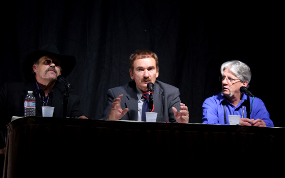 Travis Walton (center) with fellow loggers/witnesses Steve Pierce (left) and John Goulette (right) at the International UFO Congress in 2012. (Credit: OpenMinds.tv)