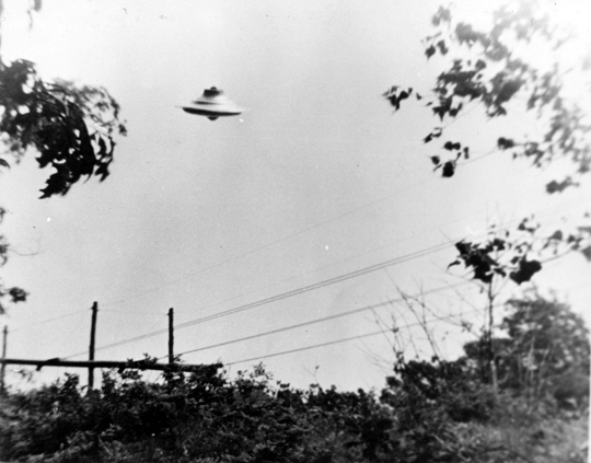 First UFO photo taken by Harold Trudel in Woonsocket, Rhode Island, June 10th, 1967. (image credit: Harold Trudel, August C. Roberts)
