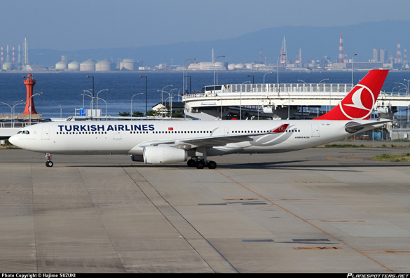 TC-JNR Turkish Airlines Airbus A330-343 at Osaka - Kansai International (KIX / RJBB), Japan - 20 July, 2013. (Credit: Hajime Suzuki/Planespotters.net)