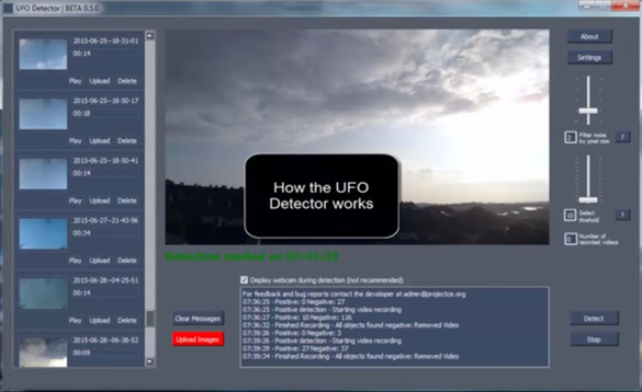 The UFO Detector software. (Credit: UFOID.net)