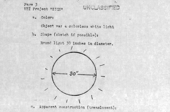 Drawing of UFO in the Project Blue Book report. (Credit: USAF/National Archives)