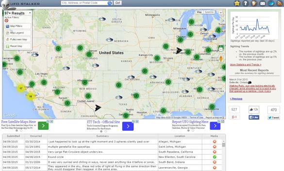 UFO Stalker sighting reports map. (Credit: UFOStalker.com)