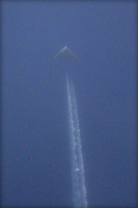 Photograph of triangular UFO taken by Jeff Templin over Wichita, Kansas. (Credit: Jeff Templin/KSN)