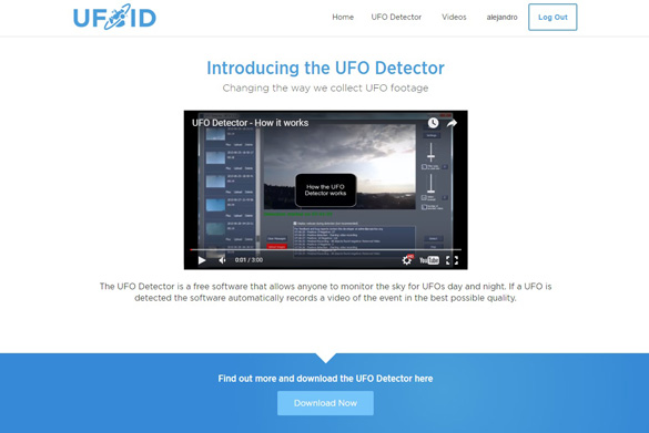 The UFOID.net homepage.