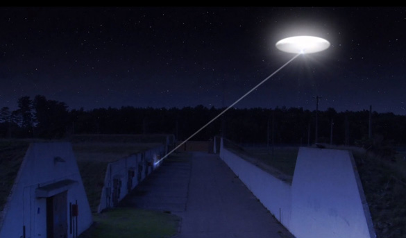 An animation of the UFO beaming the weapons depot in UFOs and Nukes: The Secret Link Revealed. (Credit: Robert Hastings/Verifiable Pictures)