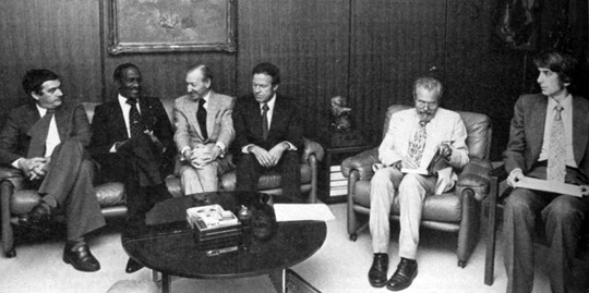 UN meeting on UFOs. From left: Claude Poher, Eric Gairy, Kurt Waldheim, Gordon Cooper, J. Allen Hynek, and Jaque Vallee.