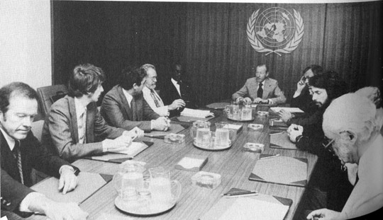 UN meeting with UN Secretary General Waldheim (middle).