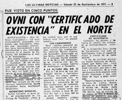 "The Sept. 25, 1971 article from Las Ultimas Noticias titled, ""The UFO with 'Birth Certificate' in the North."" (image credit: Huneeus Collection)"