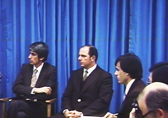 UN Press Conference. From left: Jacques Vallee and Lt. Col. Coyne. (image credit: ICUFON Archives)