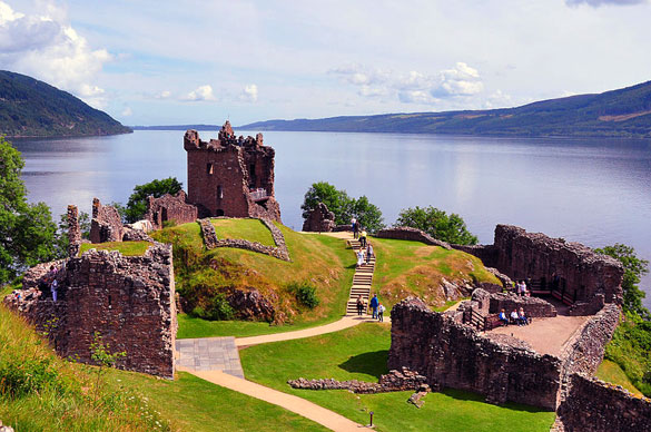 View northeast over the ruins of Urquhart Castle, looking up Loch Ness. The view is from the ruins of the keep. July 13, 2009. (Credit: Nilfanion/Wikimedia Commons)
