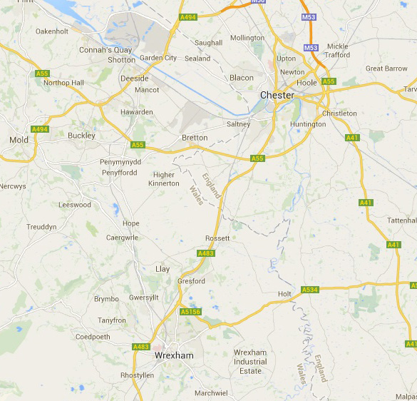 Map of Wrexham and Deeside. (Credit: Google Maps)