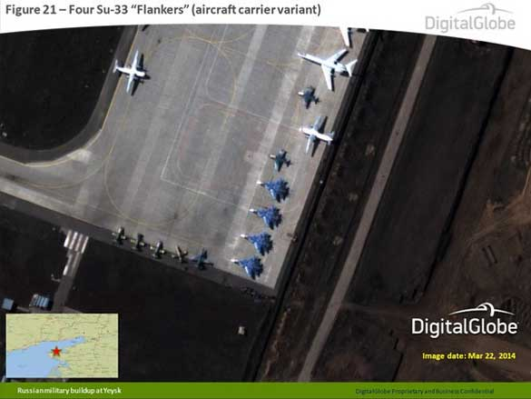 Recent images of the Yeisk (Yeysk) Russian air base. Its proximity to Ukraine has gotten the base a lot of recent attention. (Credit: Digital Globe)