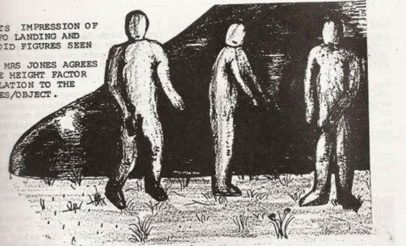 Original artist impression: Featured in the 1986 publication is this on-site sketch of the entities by Mark Birdsall.