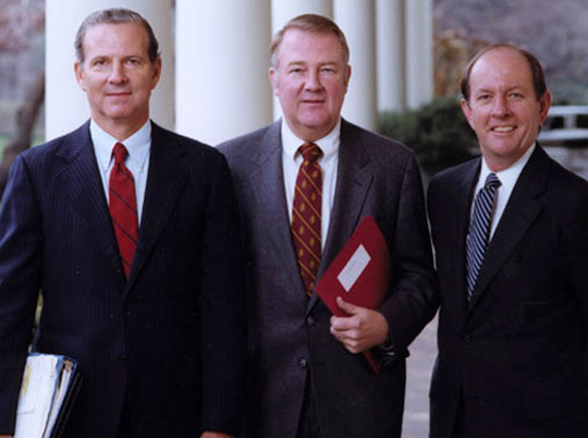 "The ""Troika."" From left: James Baker, Ed Meese, Michael Deever. Baker and Deever where at the ET screening. These men were known as the Troika"" because of their vast influence during the Reagan presidency. (image credit: Reagan Library)"