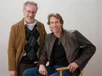 Michael Bay (seated) with Steven Spielberg