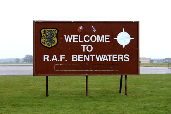 Welcome sign at RAF Bentwaters. (Credit: Philip Mantle)