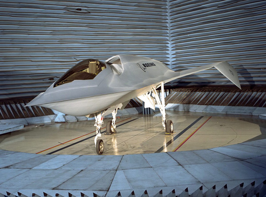 "Boeing's ""Bird of Prey"" stealth technology demonstrator was tested at Area 51. (image credit: Boeing)"