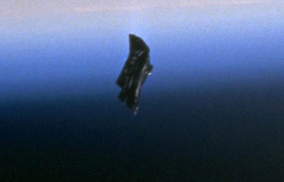 "Close-up of the infamous ""Black Knight"" satellite. (Credit: NASA)"