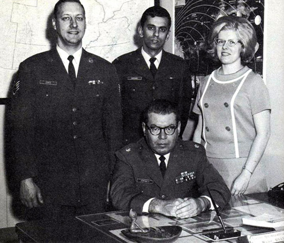 The staff of Project Blue Book. Sitting in the center is Hector Quintanilla, the last chief officer of Project Blue Book.