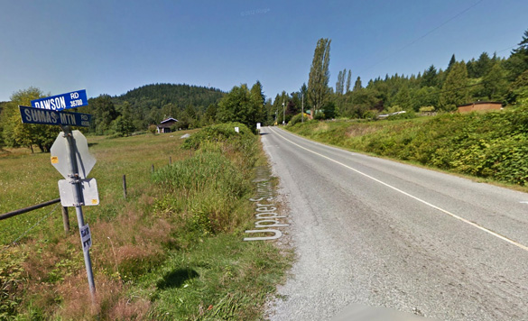 The witnesses were startled while walking home near the intersection of Sumas Mt. Road and Dawson Road, pictured, as the UFO came toward them and hovered directly in front of them. (Credit: Google)