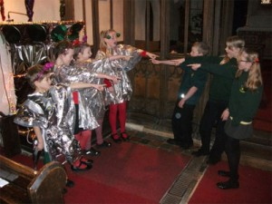 Students performing 'Christmas With the Aliens' (Credit: 	Burrington Primary School)