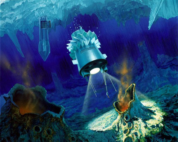 An artist's impression of a torpedo-shaped cryobot having penetrated through Europa's ice layer and released a probe into the ocean below.  (Credit: NASA/JPL)