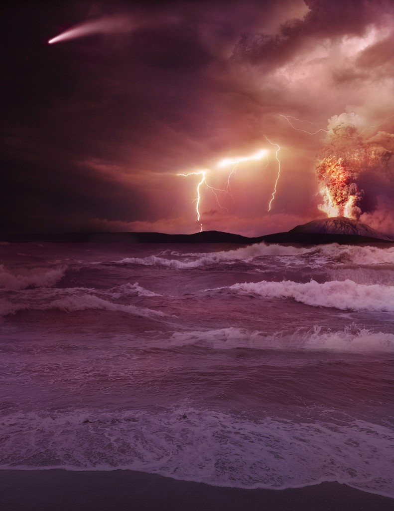 Artist concept of an early Earth. (Credit: NASA)