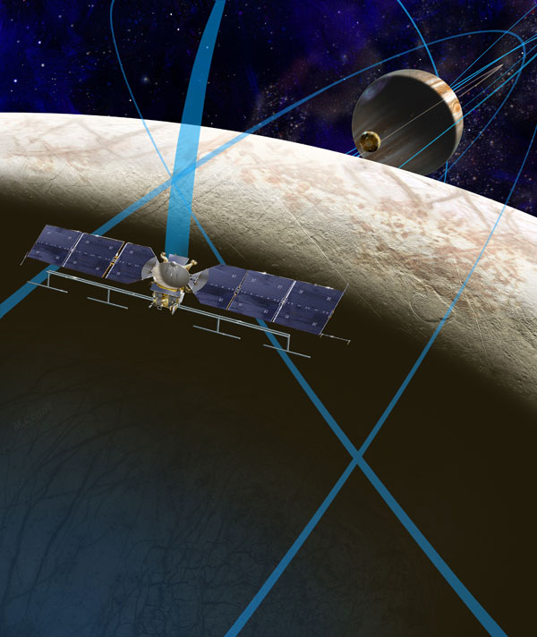 Artist's concept of the Europa Clipper mission concept, which would send a probe to do multiple flybys of the ocean-harboring Jupiter moon. (Credit: NASA/JPL-Caltech)