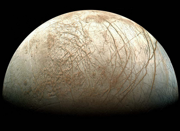 Chaos terrains on Europa (credit: NASA/Ted Stryk)