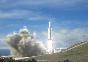Artist's rendering of Falcon Heavy's liftoff (credit: SpaceX)
